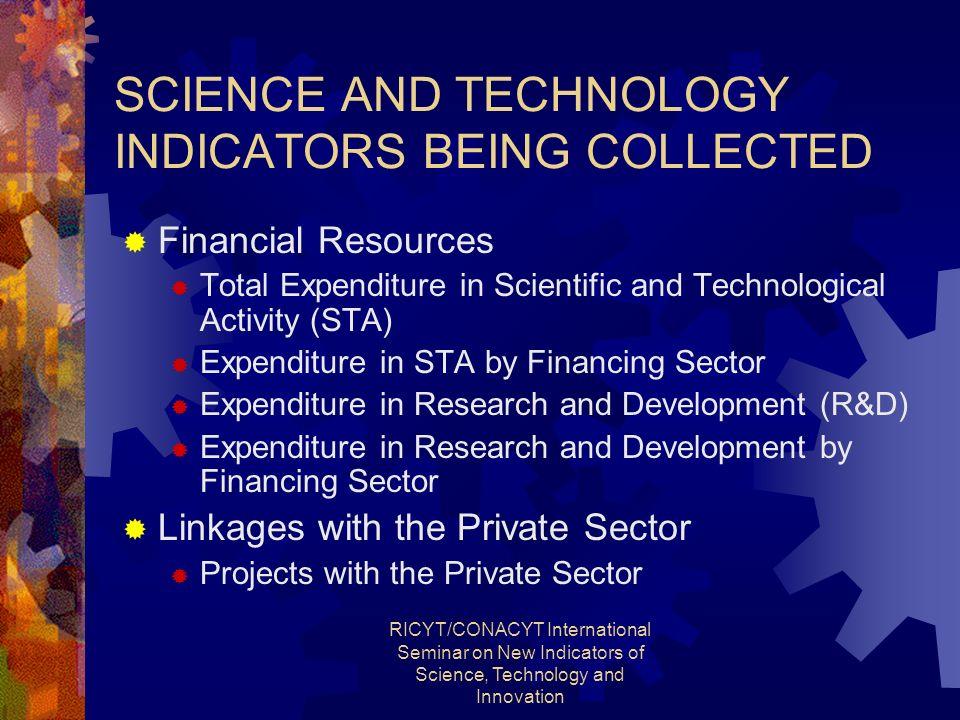 RICYT/CONACYT International Seminar on New Indicators of Science, Technology and Innovation SCIENCE AND TECHNOLOGY INDICATORS BEING COLLECTED Financia