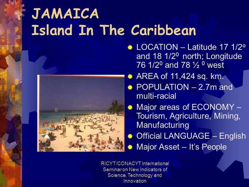 RICYT/CONACYT International Seminar on New Indicators of Science, Technology and Innovation JAMAICA Island In The Caribbean LOCATION – Latitude 17 1/2