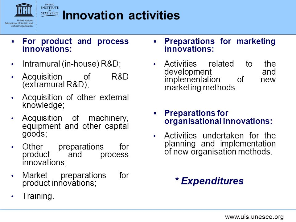 www.uis.unesco.org Innovation activities For product and process innovations: Intramural (in-house) R&D; Acquisition of R&D (extramural R&D); Acquisit