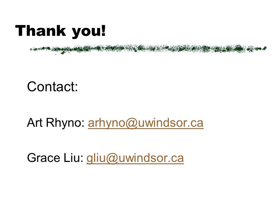 Thank you! Contact: Art Rhyno: arhyno@uwindsor.caarhyno@uwindsor.ca Grace Liu: gliu@uwindsor.cagliu@uwindsor.ca