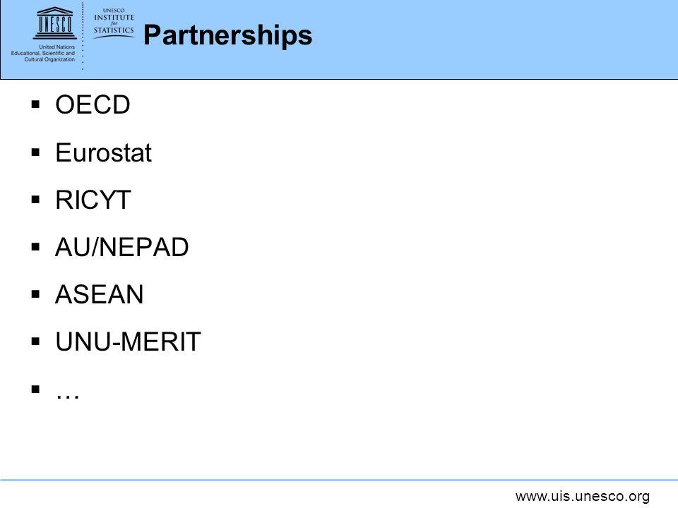 www.uis.unesco.org Partnerships OECD Eurostat RICYT AU/NEPAD ASEAN UNU-MERIT …