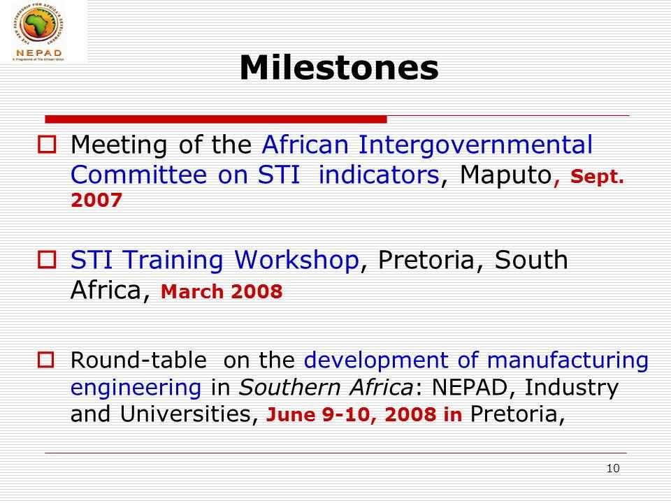 10 Milestones Meeting of the African Intergovernmental Committee on STI indicators, Maputo, Sept.