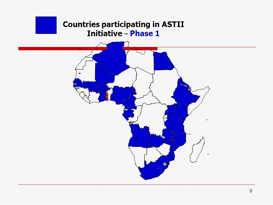9 Countries participating in ASTII Initiative – Phase 1