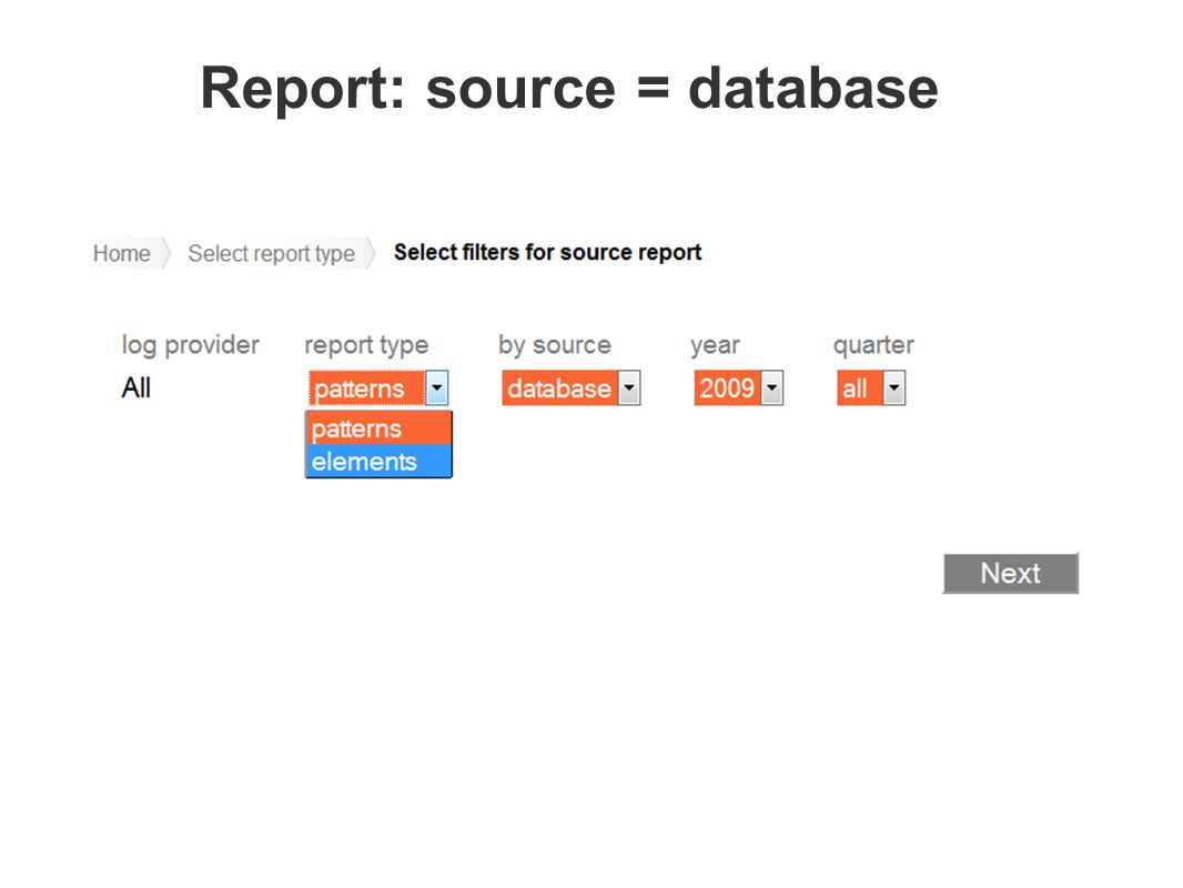 Report: source = database