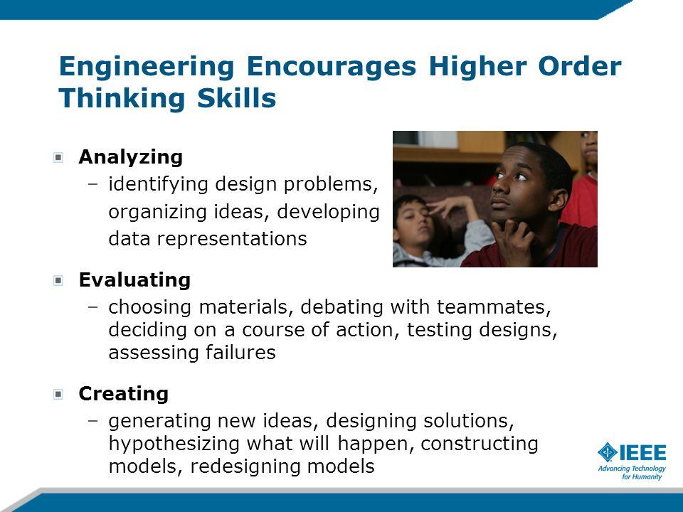 Engineering Encourages Higher Order Thinking Skills Analyzing –identifying design problems, organizing ideas, developing data representations Evaluati