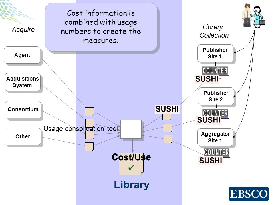 Cost/Use ? Cost/Use Library Publisher Site 1 Publisher Site 1 Publisher Site 2 Publisher Site 2 Aggregator Site 1 Aggregator Site 1 Library Collection
