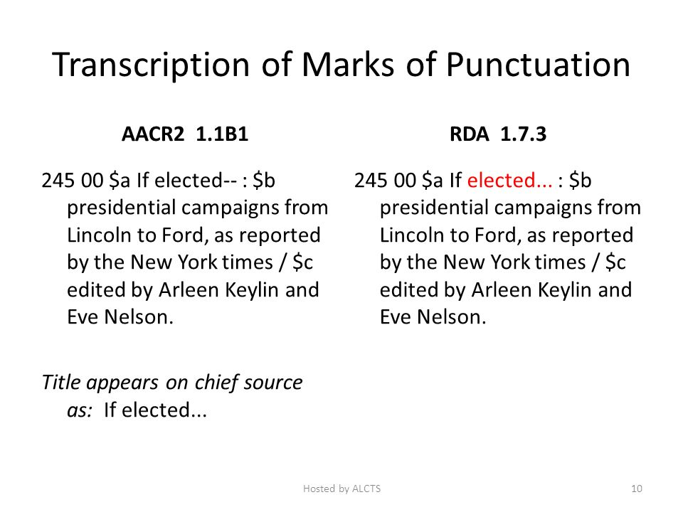 Transcription of Marks of Punctuation AACR2 1.1B1 245 00 $a If elected-- : $b presidential campaigns from Lincoln to Ford, as reported by the New York times / $c edited by Arleen Keylin and Eve Nelson.