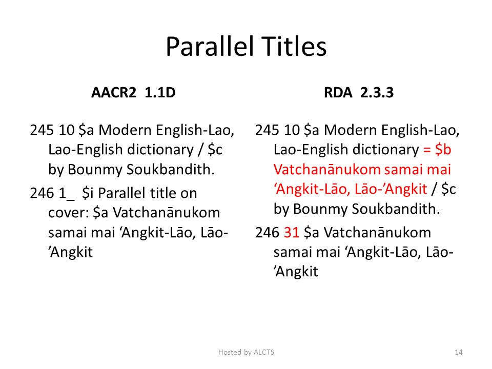 Parallel Titles AACR2 1.1D 245 10 $a Modern English-Lao, Lao-English dictionary / $c by Bounmy Soukbandith.