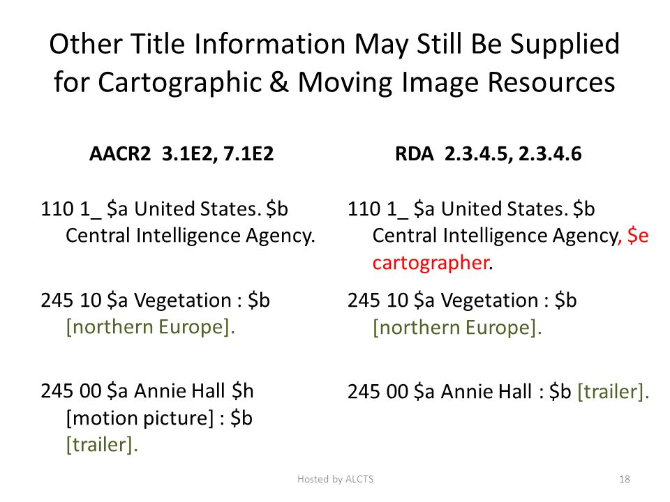 Other Title Information May Still Be Supplied for Cartographic & Moving Image Resources AACR2 3.1E2, 7.1E2 110 1_ $a United States.