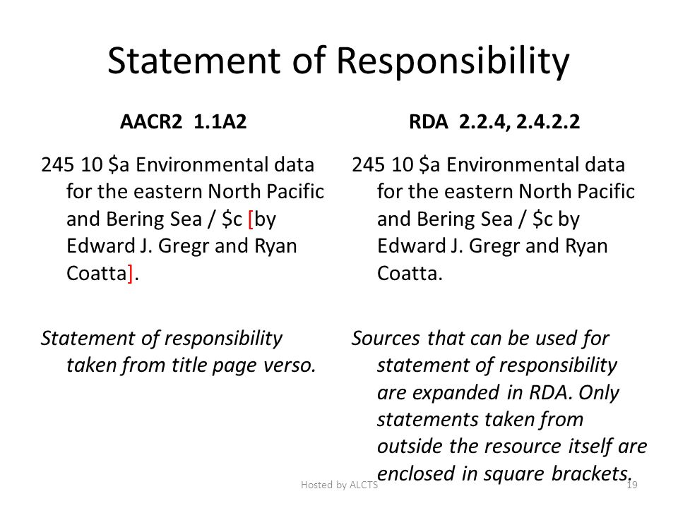 Statement of Responsibility AACR2 1.1A2 245 10 $a Environmental data for the eastern North Pacific and Bering Sea / $c [by Edward J.