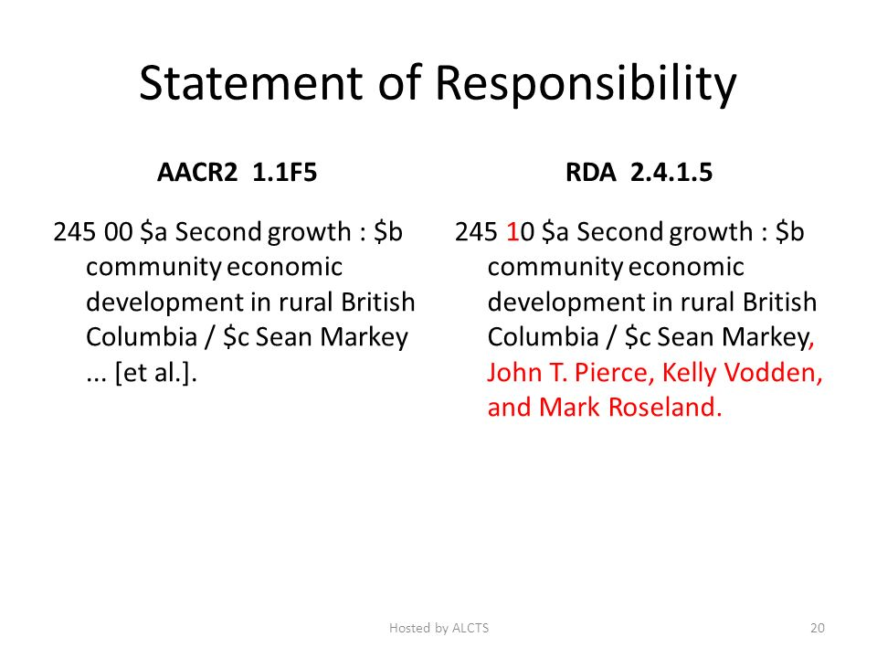 Statement of Responsibility AACR2 1.1F5 245 00 $a Second growth : $b community economic development in rural British Columbia / $c Sean Markey...