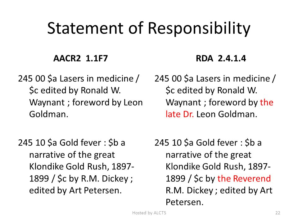 Statement of Responsibility AACR2 1.1F7 245 00 $a Lasers in medicine / $c edited by Ronald W.