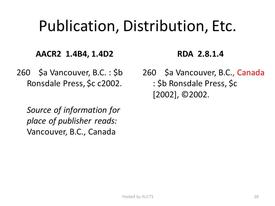 Publication, Distribution, Etc. AACR2 1.4B4, 1.4D2 260 $a Vancouver, B.C. : $b Ronsdale Press, $c c2002. Source of information for place of publisher