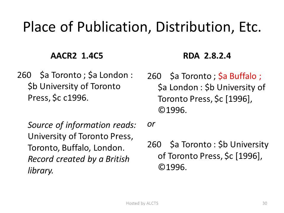 Place of Publication, Distribution, Etc. AACR2 1.4C5 260 $a Toronto ; $a London : $b University of Toronto Press, $c c1996. Source of information read
