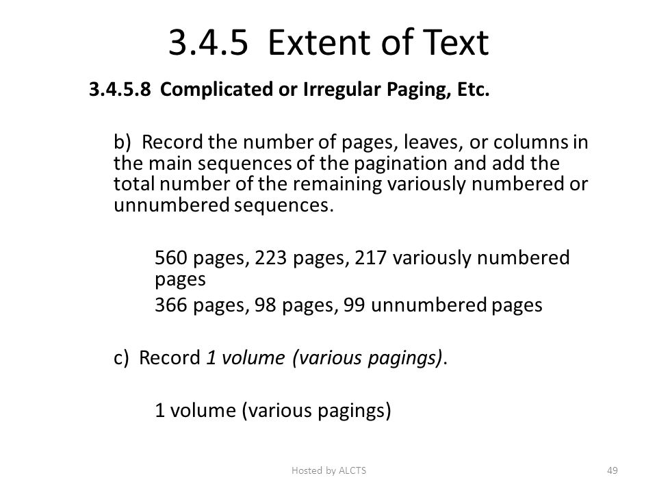 3.4.5 Extent of Text 3.4.5.8 Complicated or Irregular Paging, Etc.