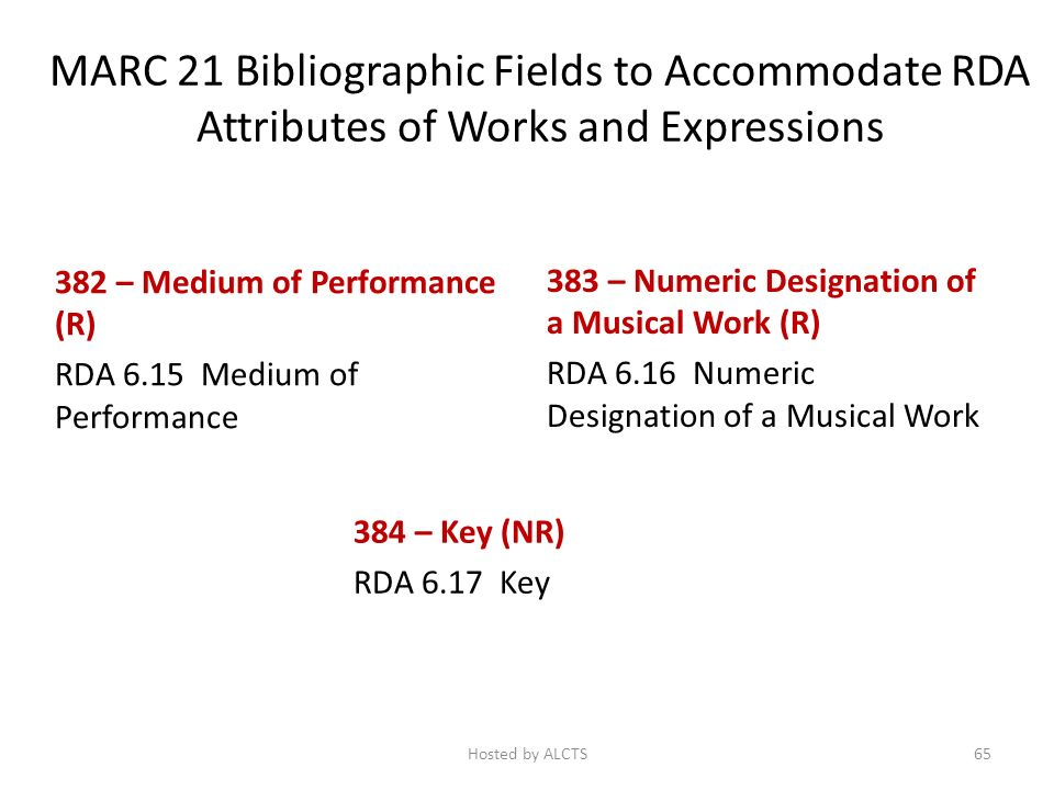 MARC 21 Bibliographic Fields to Accommodate RDA Attributes of Works and Expressions 382 – Medium of Performance (R) RDA 6.15 Medium of Performance 383 – Numeric Designation of a Musical Work (R) RDA 6.16 Numeric Designation of a Musical Work 384 – Key (NR) RDA 6.17 Key 65Hosted by ALCTS