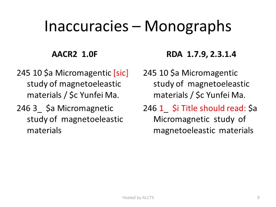 Inaccuracies – Monographs AACR2 1.0F 245 10 $a Micromagentic [sic] study of magnetoeleastic materials / $c Yunfei Ma.