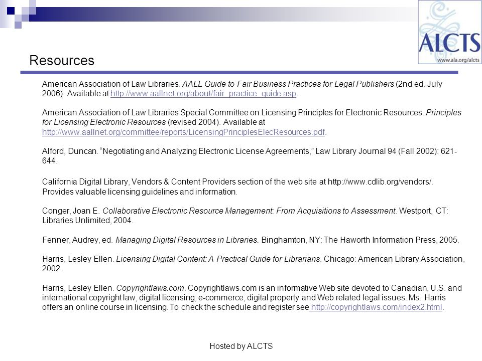 Resources American Association of Law Libraries.