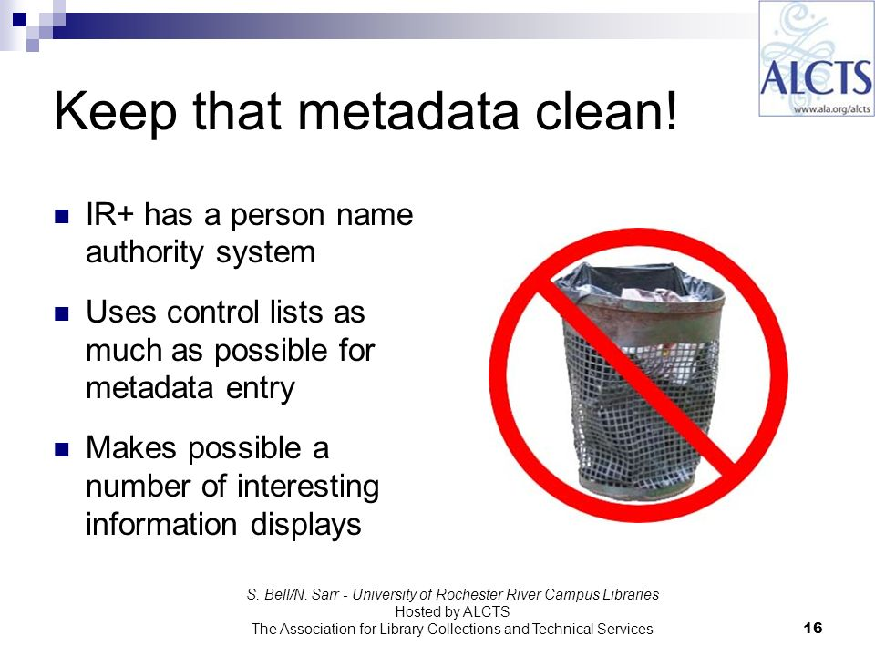 Keep that metadata clean.