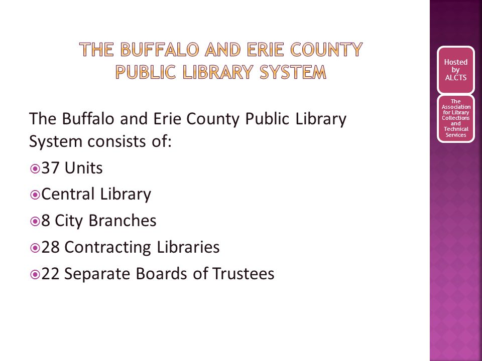 Checklists of adult and juvenile materials for the system to select from and to add to their Librarys local collections.