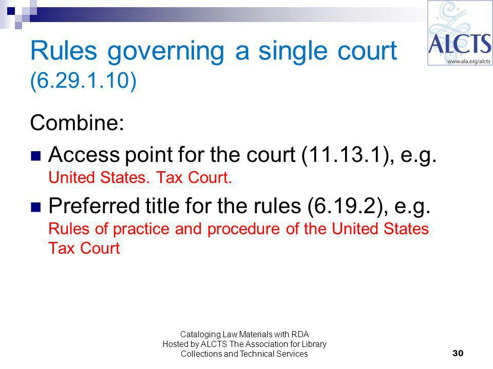 Rules governing a single court ( ) Combine: Access point for the court ( ), e.g.