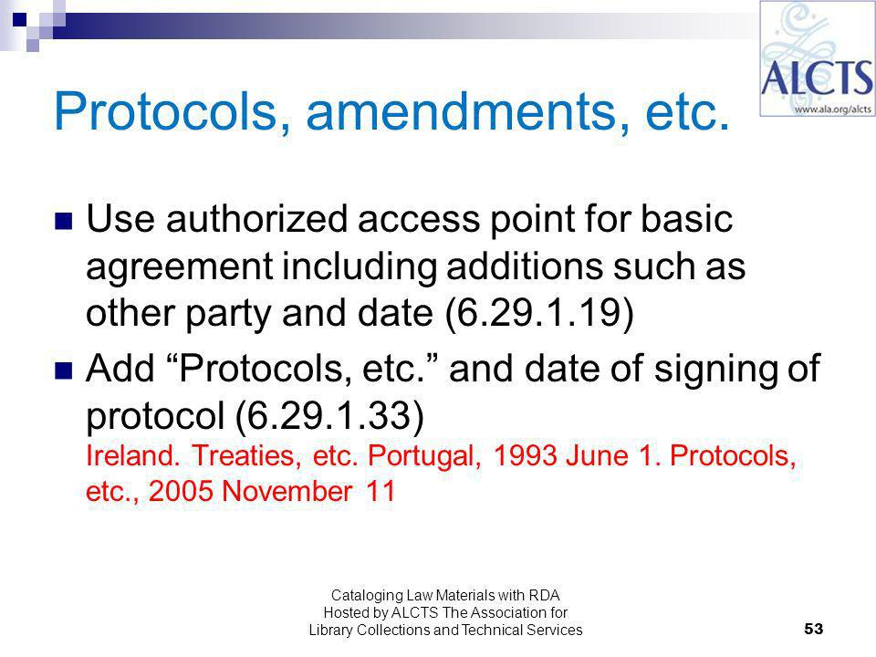 Protocols, amendments, etc.