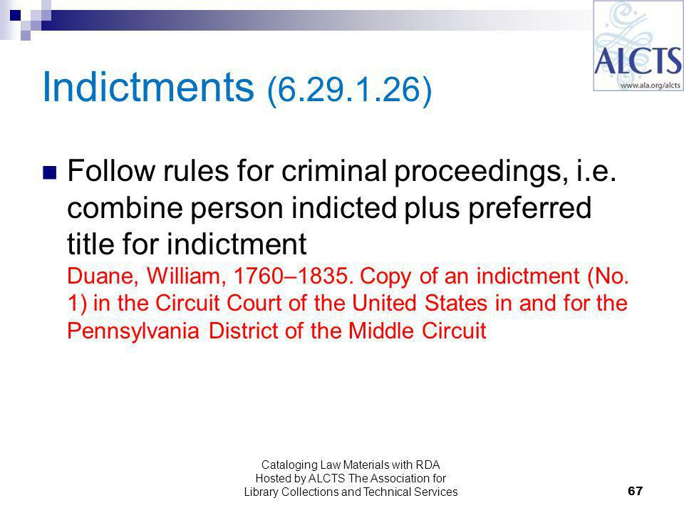 Indictments ( ) Follow rules for criminal proceedings, i.e.