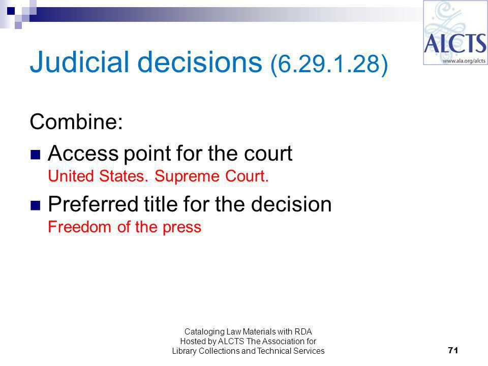 Judicial decisions ( ) Combine: Access point for the court United States.