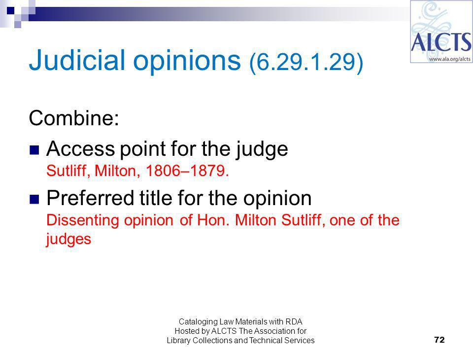 Judicial opinions ( ) Combine: Access point for the judge Sutliff, Milton, 1806–1879.