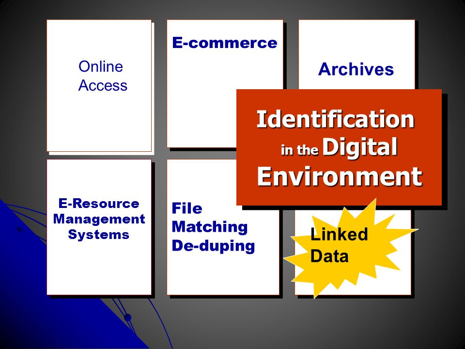 E-commerce Archives File Matching De-duping File Matching De-duping Identification in the Digital EnvironmentIdentification Environment E-Resource Man