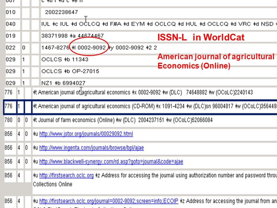 ISSN-L in WorldCat American journal of agricultural Economics (Online)
