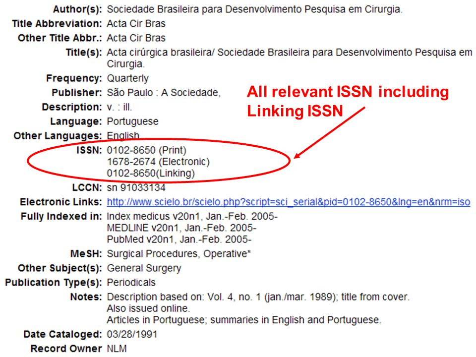 All relevant ISSN including Linking ISSN