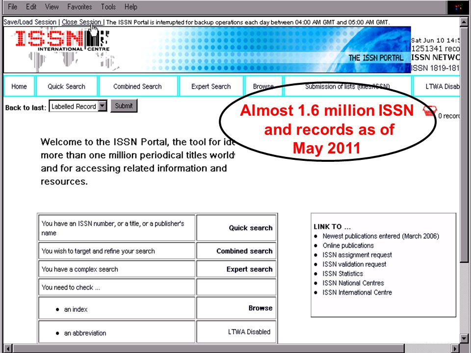 THE ISSN REGISTER Almost 1.6 million ISSN and records as of May 2011