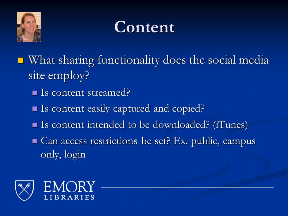 Content What sharing functionality does the social media site employ.