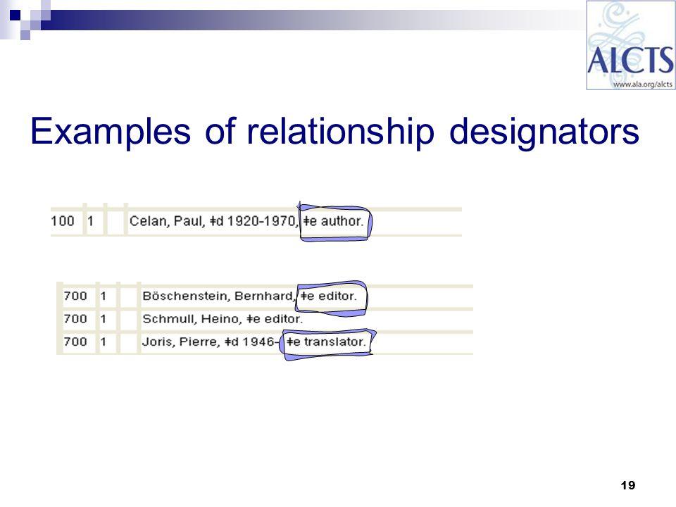 19 Examples of relationship designators