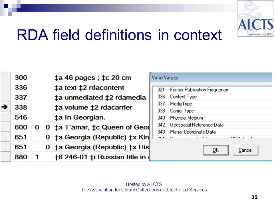 32 RDA field definitions in context Hosted by ALCTS The Association for Library Collections and Technical Services