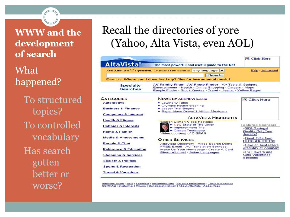 WWW and the development of search What happened. To structured topics.