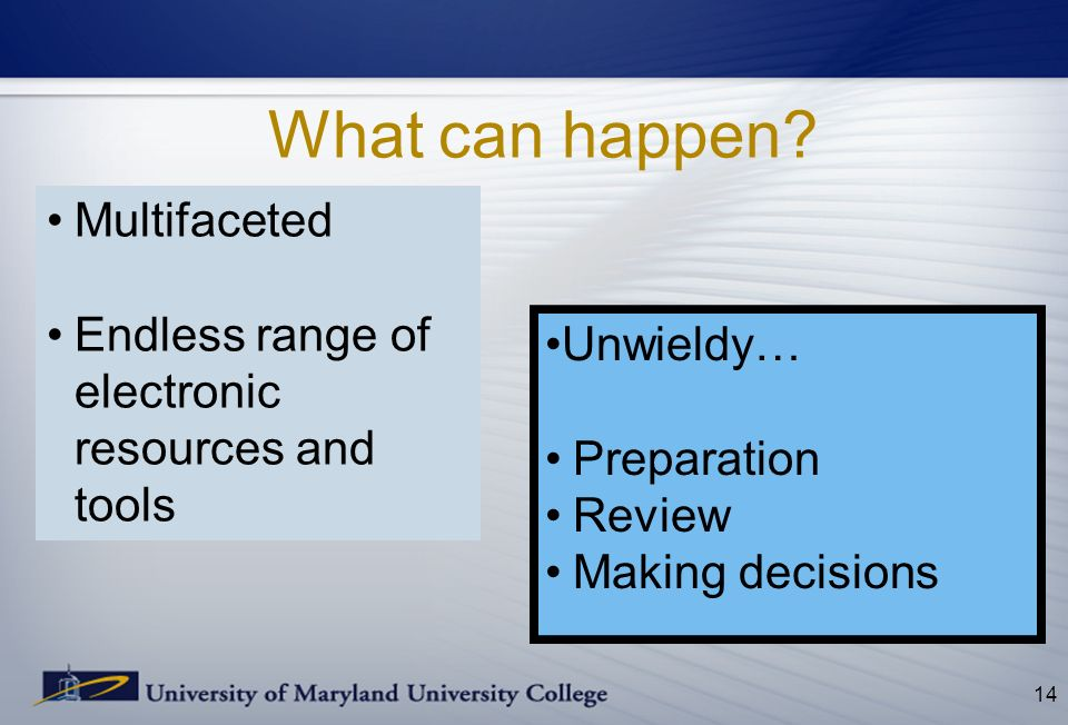 What can happen? 14 Multifaceted Endless range of electronic resources and tools Unwieldy… Preparation Review Making decisions