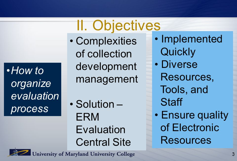 II. Objectives 3 Complexities of collection development management Solution – ERM Evaluation Central Site Implemented Quickly Diverse Resources, Tools