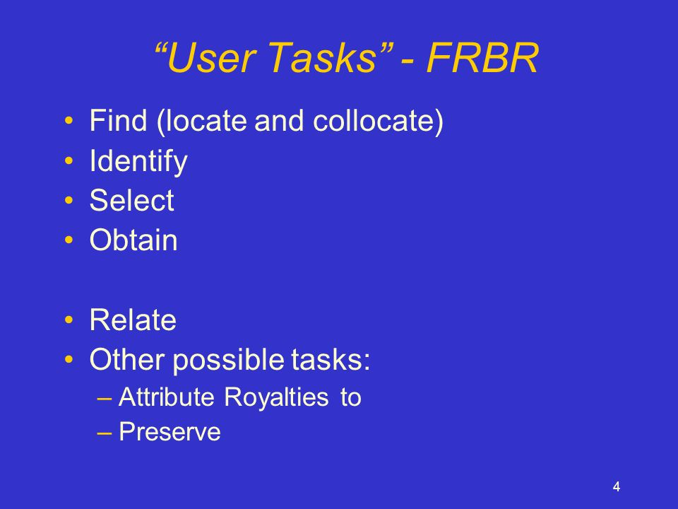 4 User Tasks - FRBR Find (locate and collocate) Identify Select Obtain Relate Other possible tasks: –Attribute Royalties to –Preserve