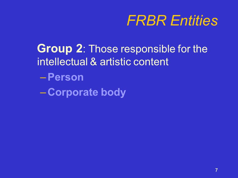 8 FRBR Entities Group 3 : Subjects of works –Groups 1 & 2 plus –Concept –Object –Event –Place
