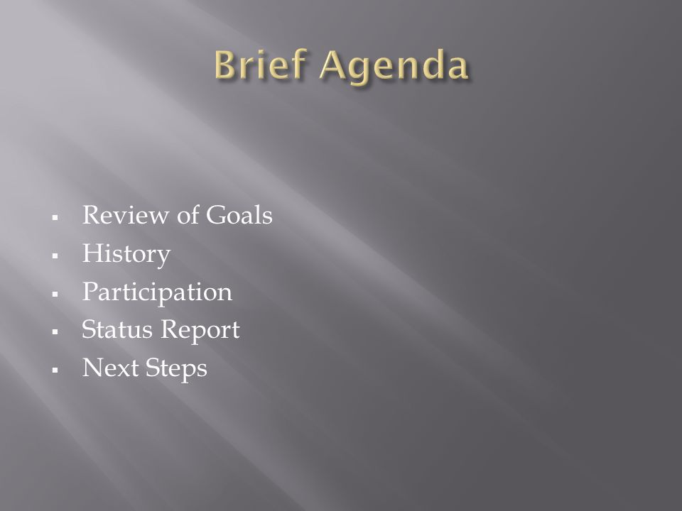 Review of Goals History Participation Status Report Next Steps