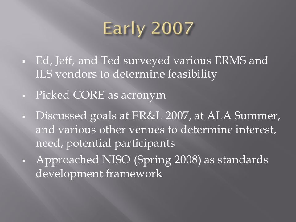 Ed, Jeff, and Ted surveyed various ERMS and ILS vendors to determine feasibility Picked CORE as acronym Discussed goals at ER&L 2007, at ALA Summer, and various other venues to determine interest, need, potential participants Approached NISO (Spring 2008) as standards development framework