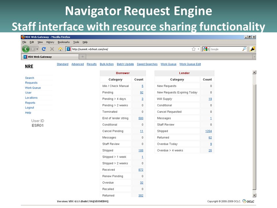 Navigator Request Engine Staff interface with resource sharing functionality