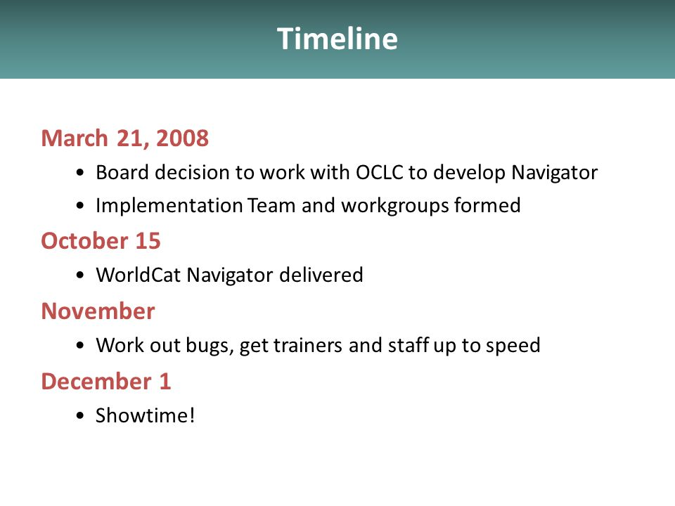Timeline March 21, 2008 Board decision to work with OCLC to develop Navigator Implementation Team and workgroups formed October 15 WorldCat Navigator delivered November Work out bugs, get trainers and staff up to speed December 1 Showtime!