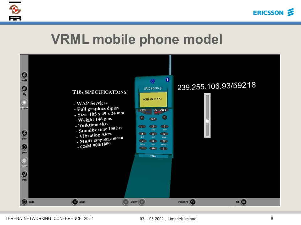 TERENA NETWORKING CONFERENCE 2002 03. - 06.2002., Limerick Ireland 8 VRML mobile phone model