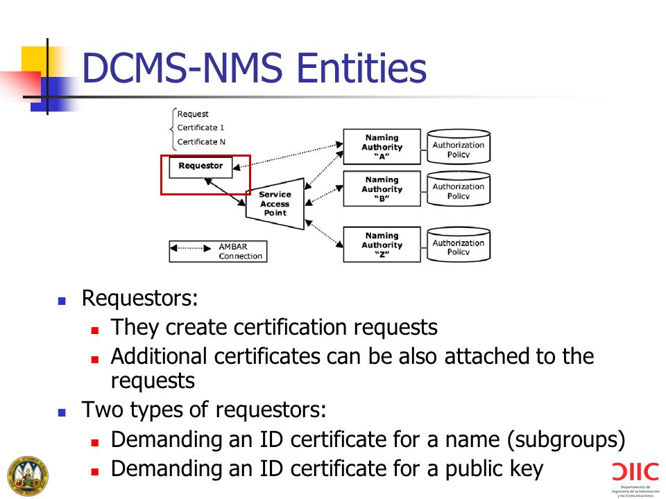 DCMS-NMS Entities Requestors: They create certification requests Additional certificates can be also attached to the requests Two types of requestors: Demanding an ID certificate for a name (subgroups) Demanding an ID certificate for a public key