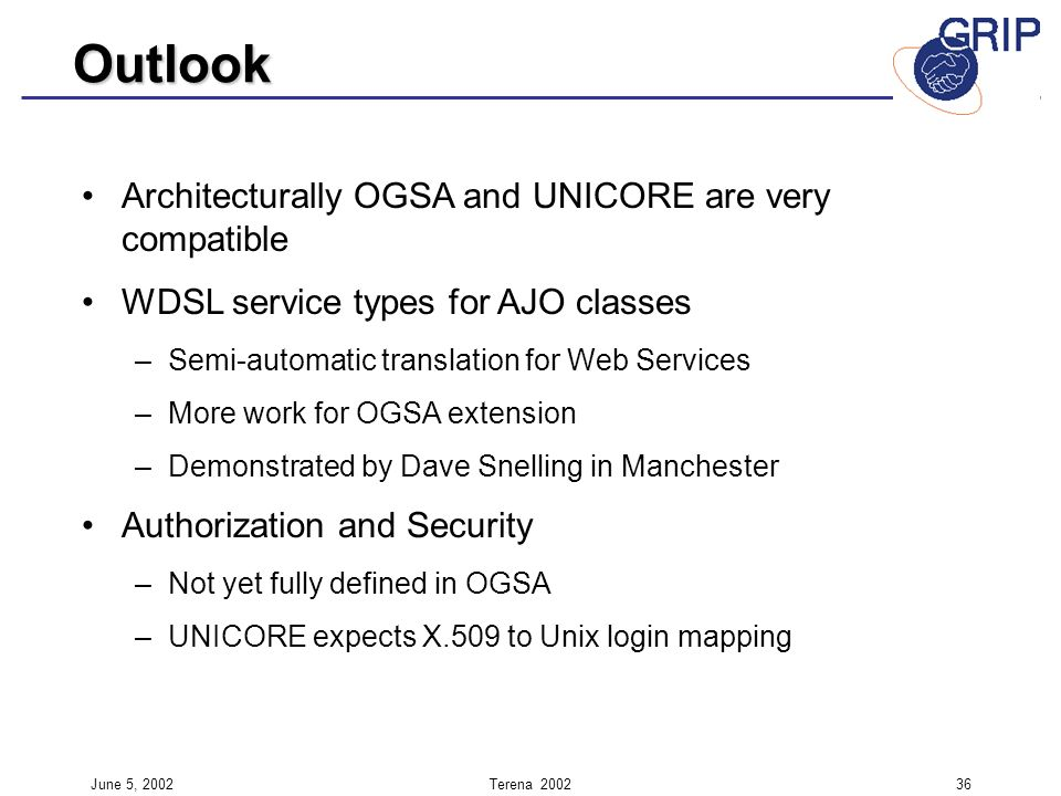 June 5, 2002Terena Architecturally OGSA and UNICORE are very compatible WDSL service types for AJO classes – –Semi-automatic translation for Web Services – –More work for OGSA extension – –Demonstrated by Dave Snelling in Manchester Authorization and Security – –Not yet fully defined in OGSA – –UNICORE expects X.509 to Unix login mapping Outlook