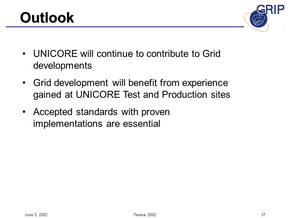 June 5, 2002Terena UNICORE will continue to contribute to Grid developments Grid development will benefit from experience gained at UNICORE Test and Production sites Accepted standards with proven implementations are essential Outlook