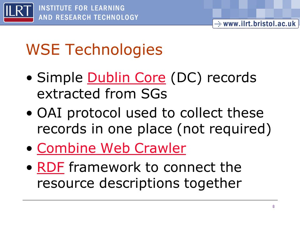 8 WSE Technologies Simple Dublin Core (DC) records extracted from SGsDublin Core OAI protocol used to collect these records in one place (not required
